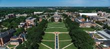 An aerial view of McKeldin mall and the library